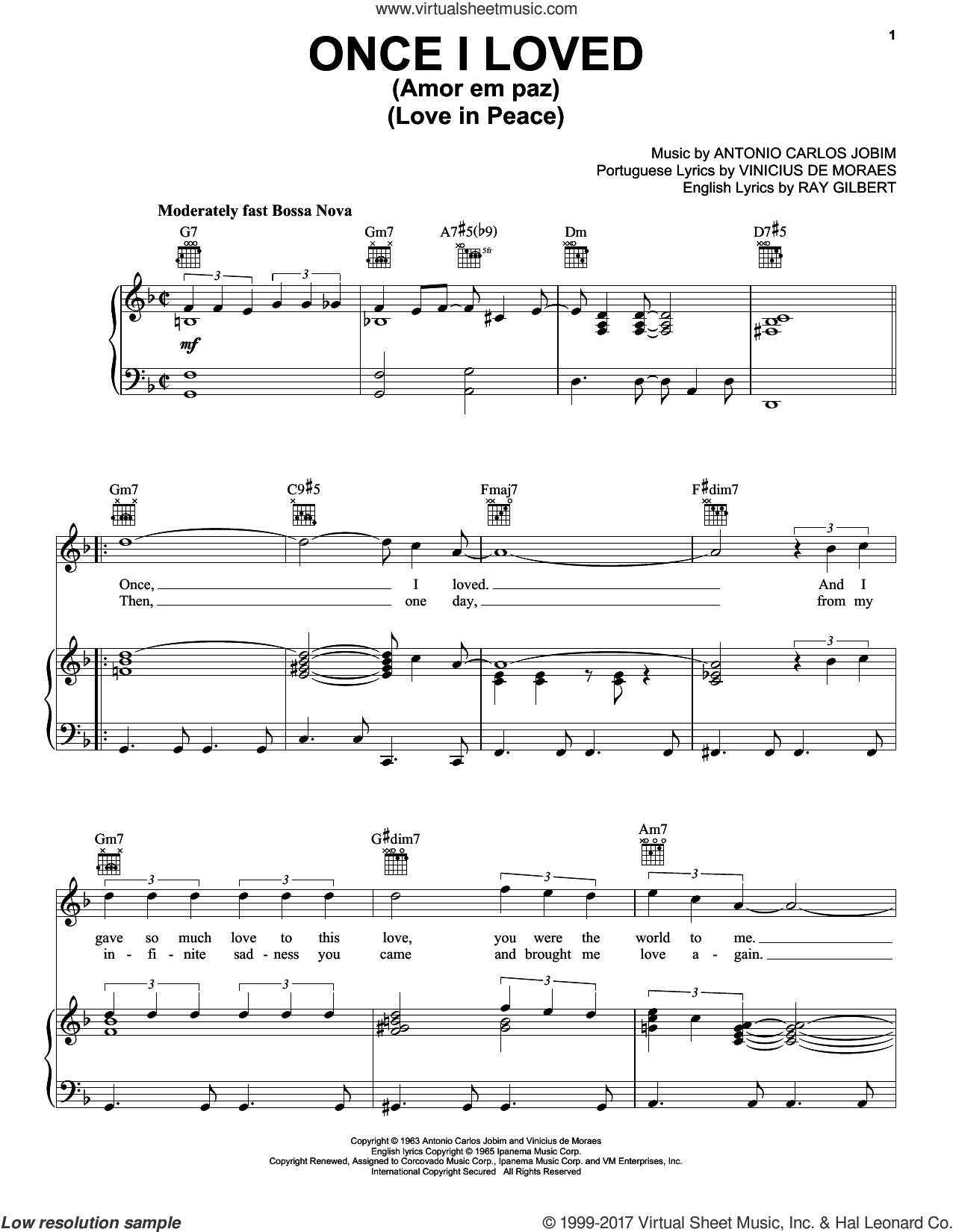Once I Loved (Amor Em Paz) (Love In Peace) sheet music for voice, piano or guitar by Antonio Carlos Jobim, Frank Sinatra and Vinicius de Moraes, intermediate. Score Image Preview.