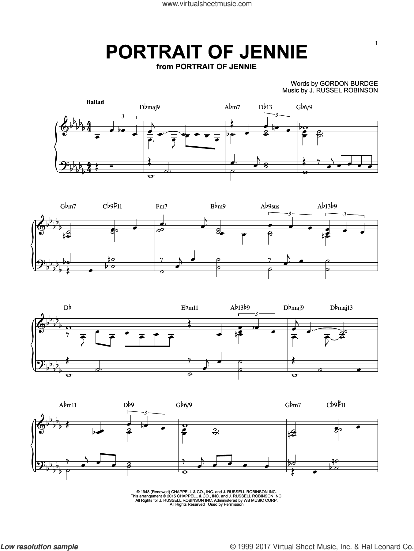 Portrait of Jennie sheet music for piano solo by Russell Robinson and Gordon Burdge, intermediate. Score Image Preview.