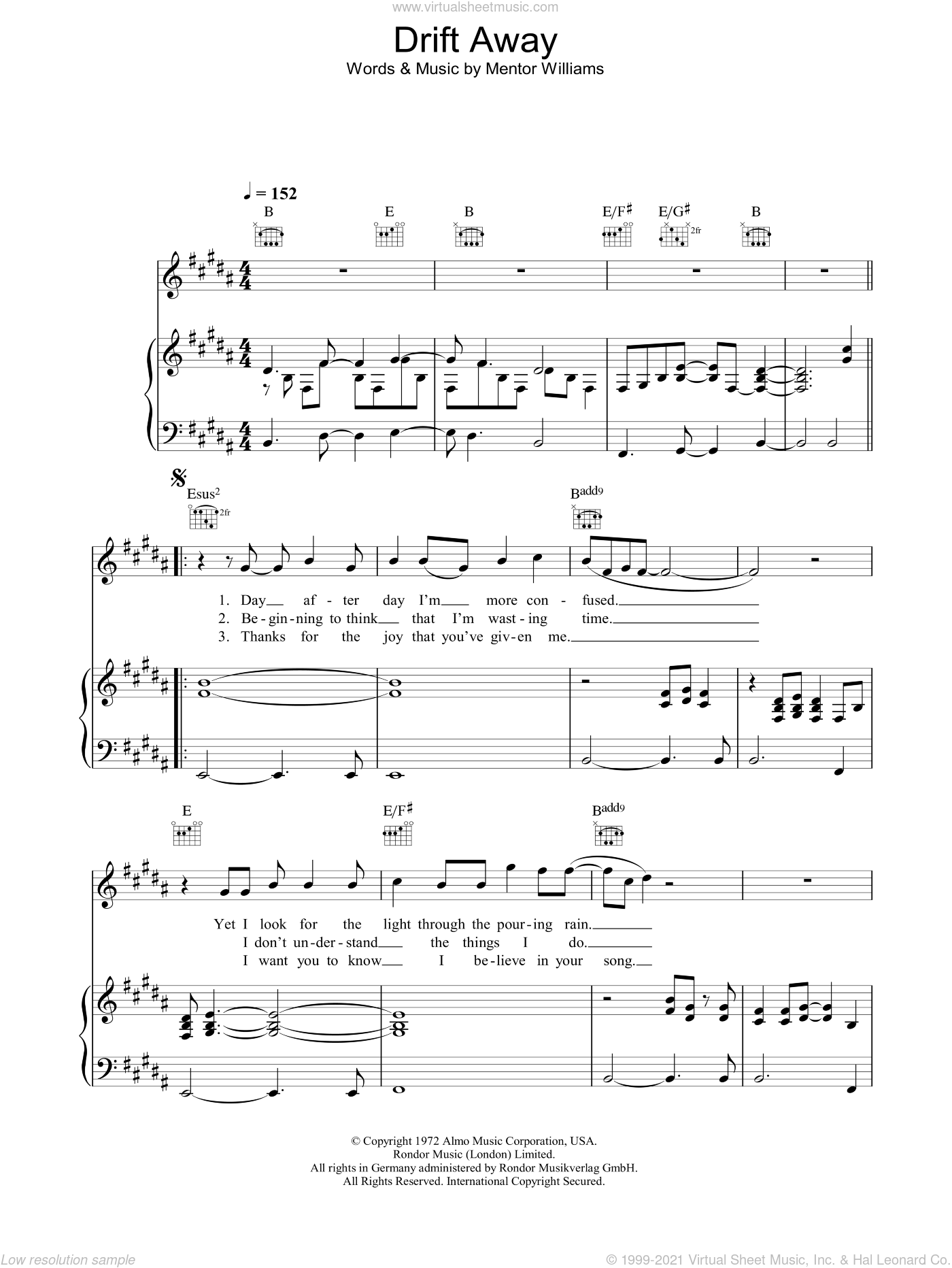 Drift Away sheet music for voice, piano or guitar by Dobie Gray and Mentor Williams, intermediate skill level