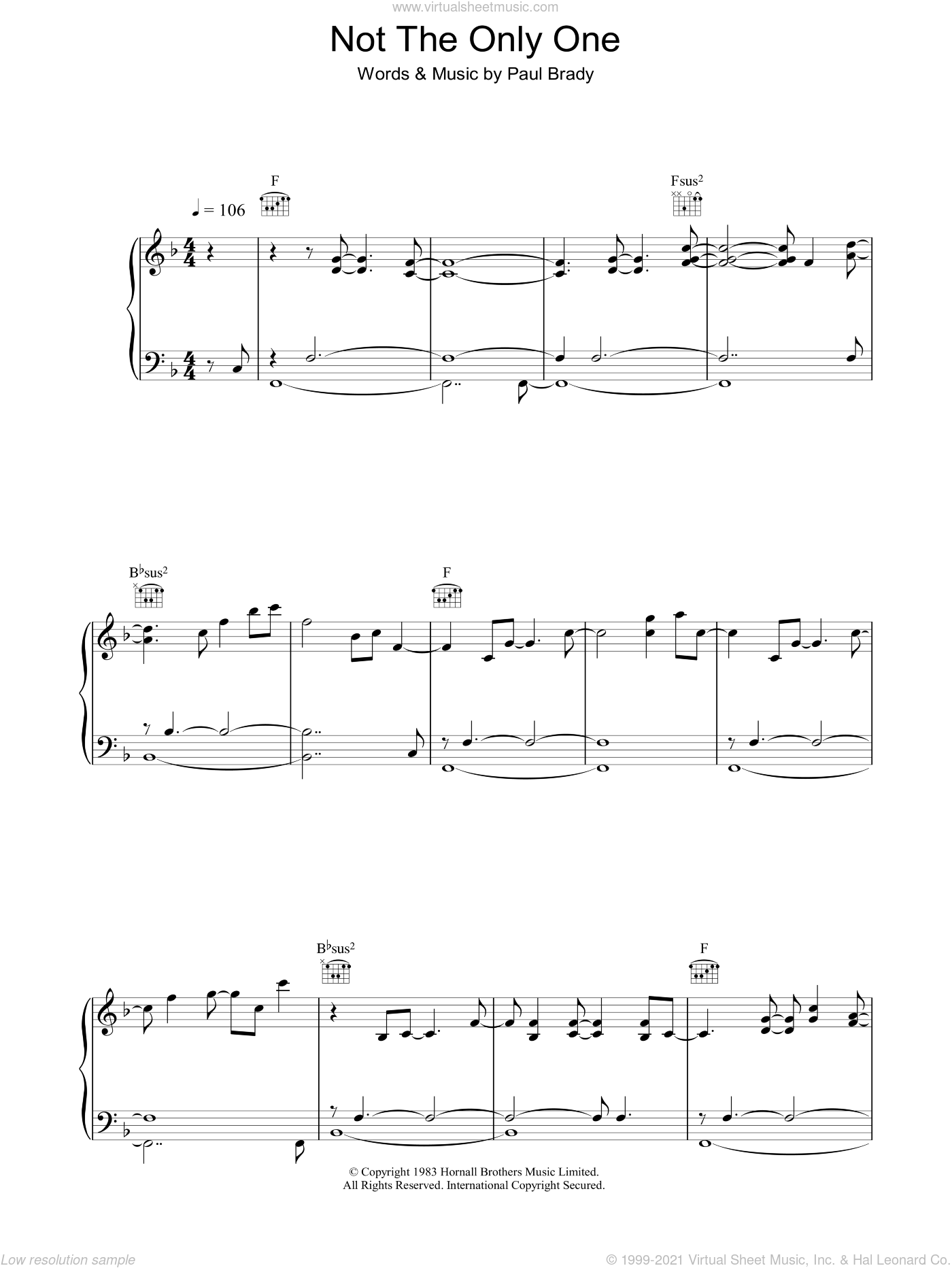 Not The Only One sheet music for voice, piano or guitar by Paul Brady, intermediate skill level