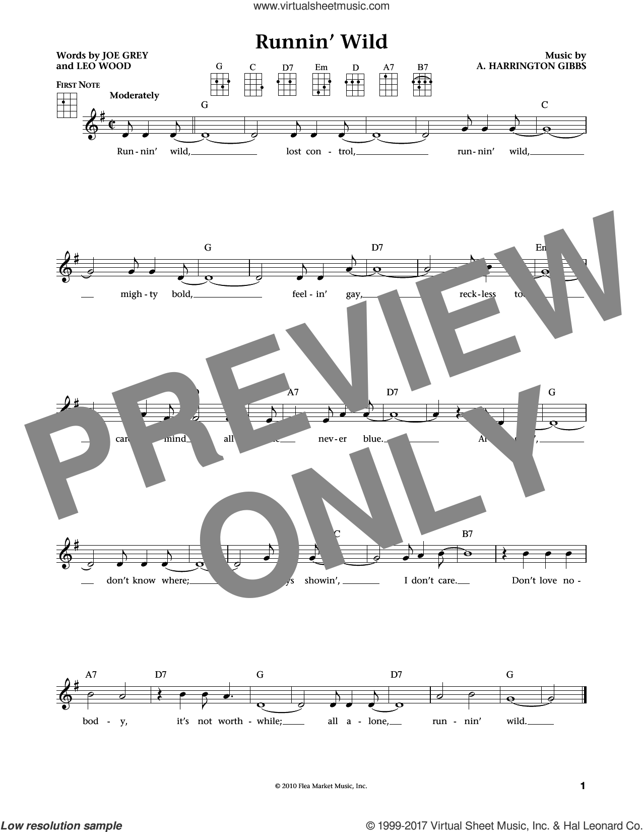 Runnin' Wild sheet music for ukulele by Leo Woods, Jim Beloff, Liz Beloff, A. Harrington Gibbs and Joe Grey, intermediate skill level