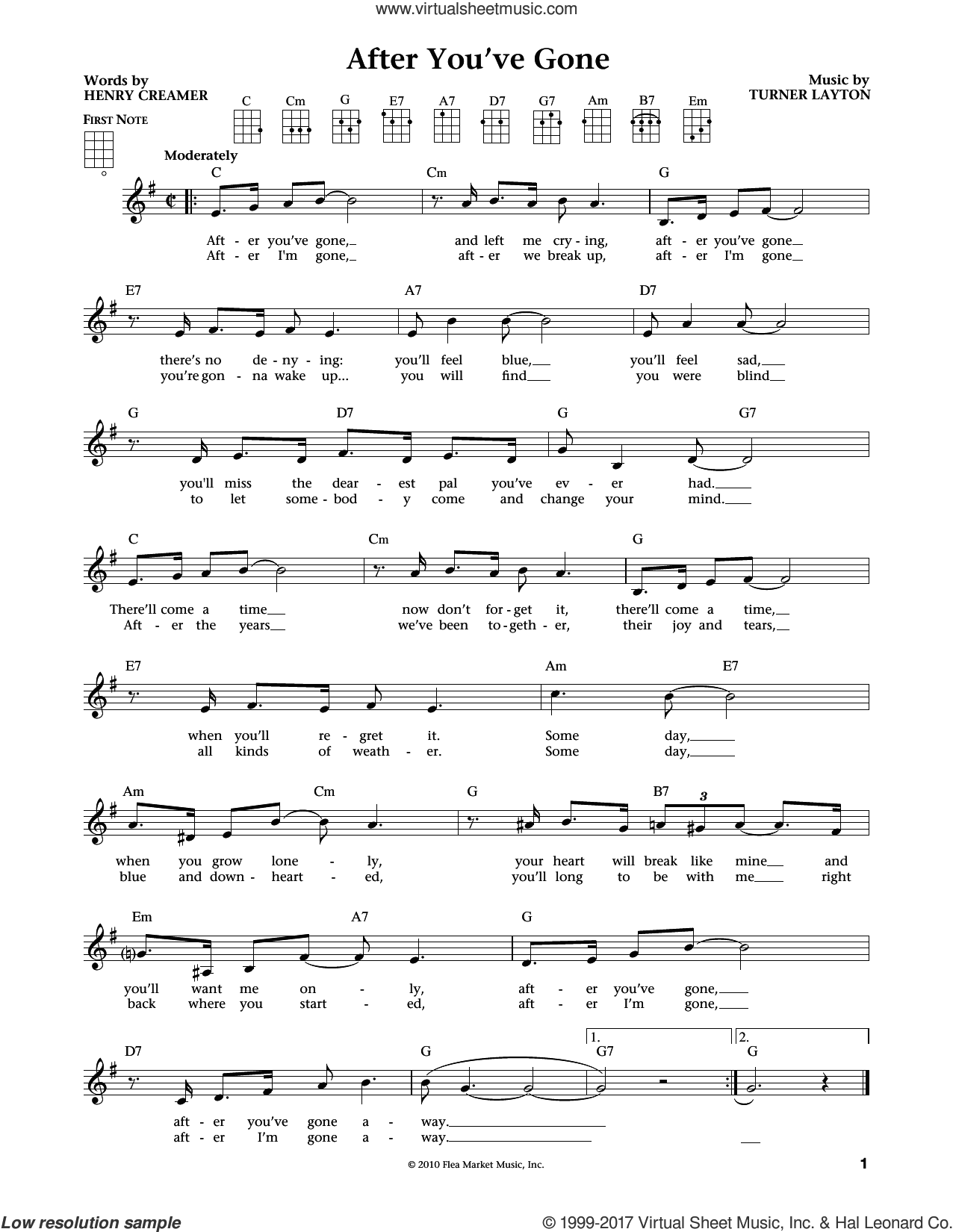 After You've Gone sheet music for ukulele by Sophie Tucker, Jim Beloff, Liz Beloff, Henry Creamer and Turner Layton, intermediate