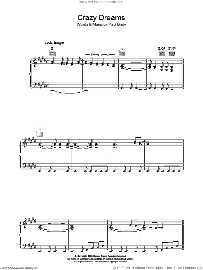 Crazy Dreams sheet music for voice, piano or guitar by Paul Brady. Score Image Preview.