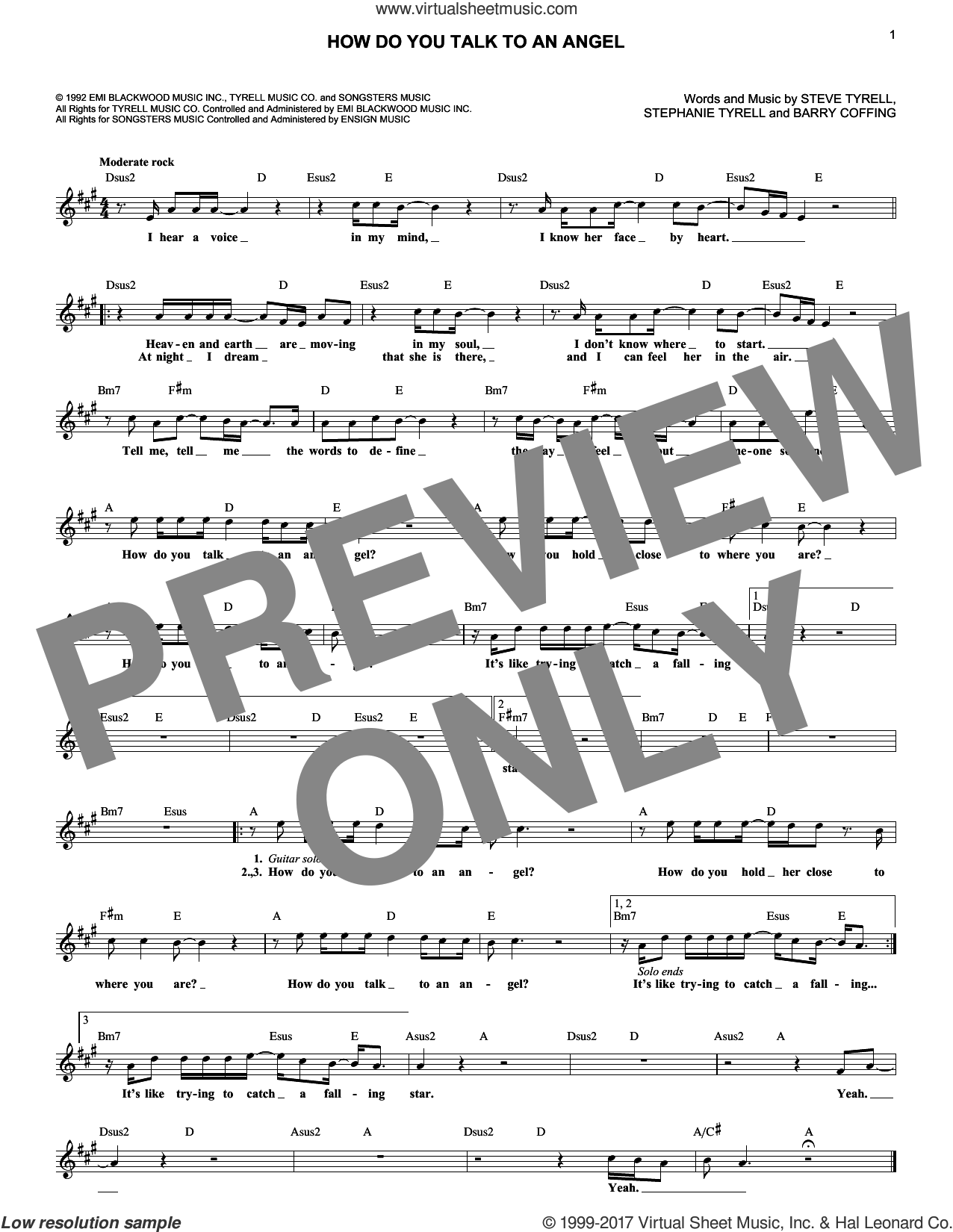 How Do You Talk To An Angel sheet music for voice and other instruments (fake book) by Steve Tyrell, Barry Coffing and Stephanie Tyrell, intermediate. Score Image Preview.