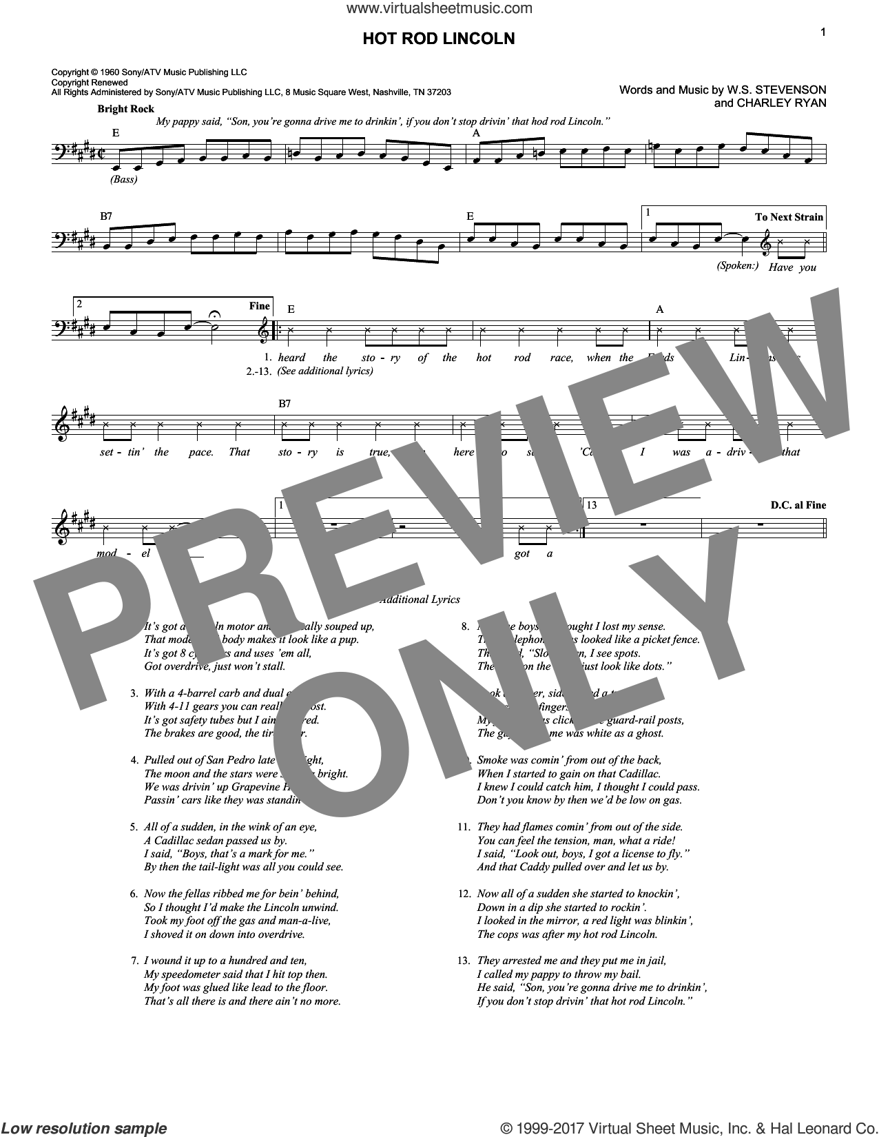 Hot Rod Lincoln sheet music for voice and other instruments (fake book) by Commander Cody, Charlie Ryan, Charley Ryan and William Stevenson, intermediate skill level