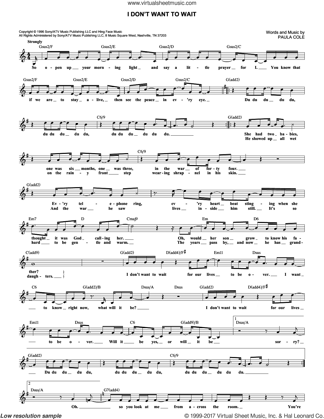 I Don't Want To Wait sheet music for voice and other instruments (fake book) by Paula Cole, intermediate skill level