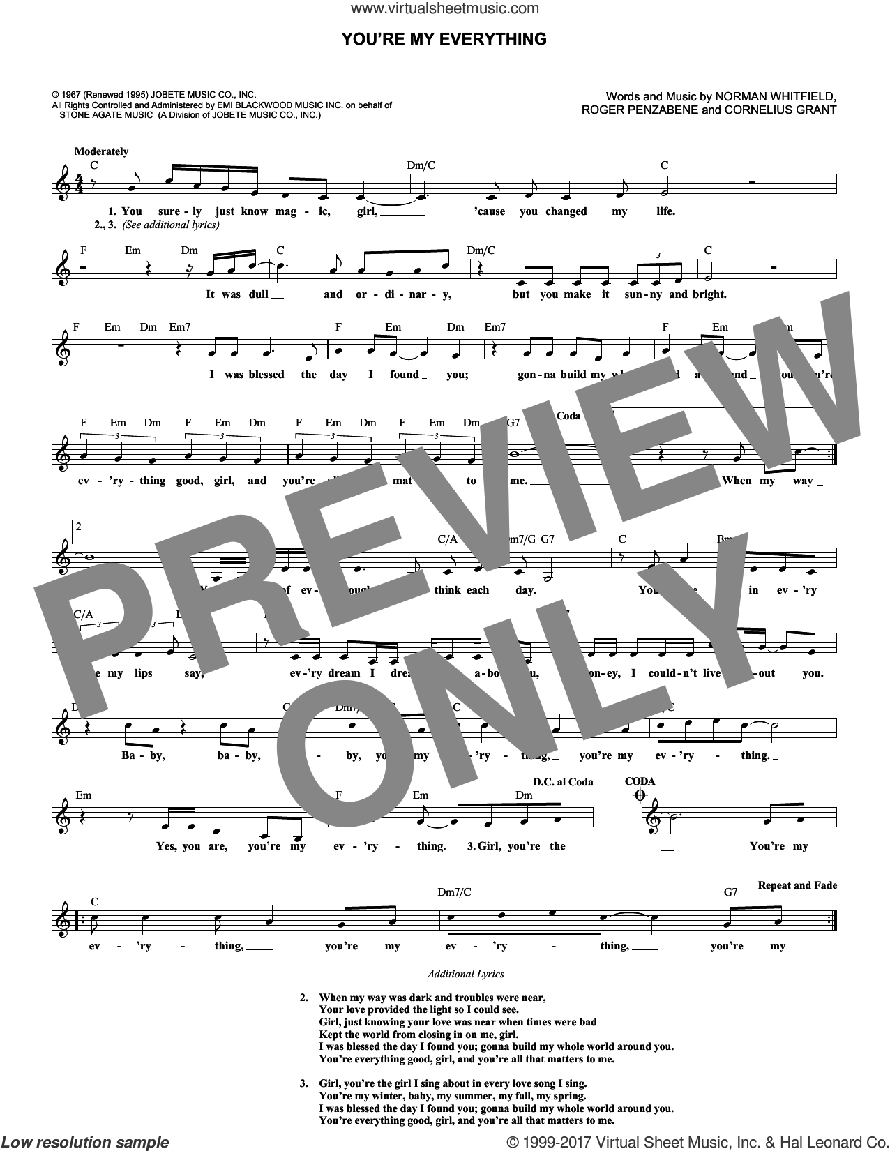 You're My Everything sheet music for voice and other instruments (fake book) by The Temptations, Cornelius Grant, Norman Whitfield and Roger Penzabene, intermediate skill level