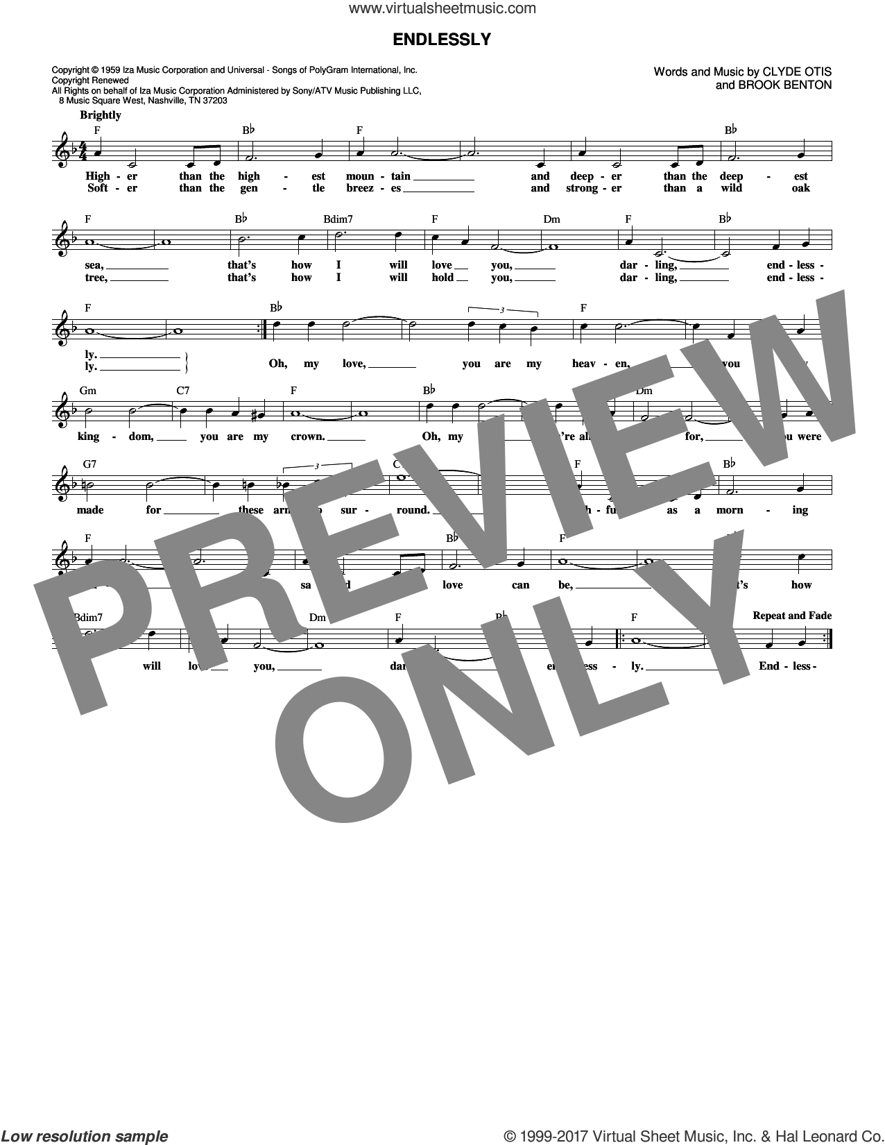 Endlessly sheet music for voice and other instruments (fake book) by Clyde Otis, Sonny James and Brook Benton. Score Image Preview.