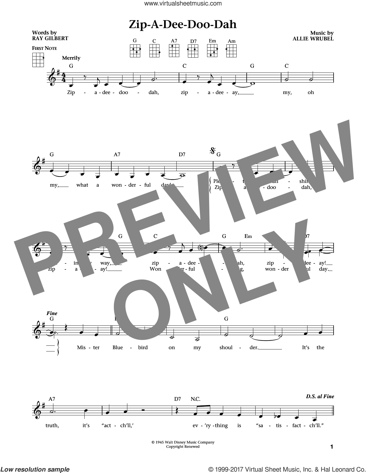 Zip-A-Dee-Doo-Dah (from The Daily Ukulele) (arr. Liz and Jim Beloff) sheet music for ukulele by Ray Gilbert, Jim Beloff, Liz Beloff and Allie Wrubel, intermediate skill level