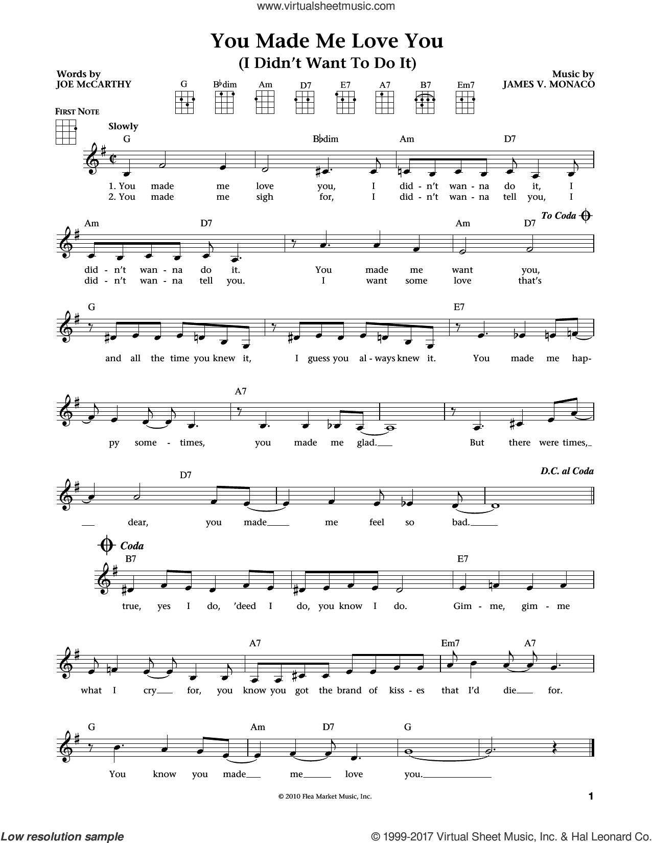 You Made Me Love You (I Didn't Want To Do It) (from The Daily Ukulele) (arr. Liz and Jim Beloff) sheet music for ukulele by James Monaco, Jim Beloff, Liz Beloff and Joe McCarthy, intermediate skill level