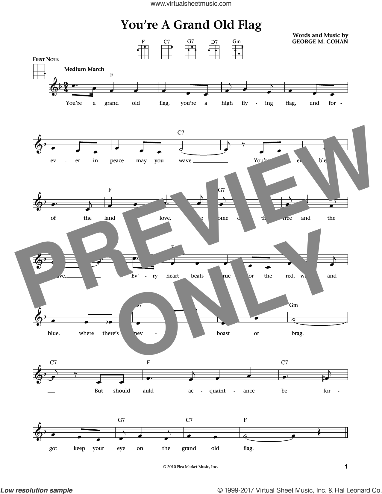 You're A Grand Old Flag sheet music for ukulele by George Cohan, Jim Beloff and Liz Beloff, intermediate skill level