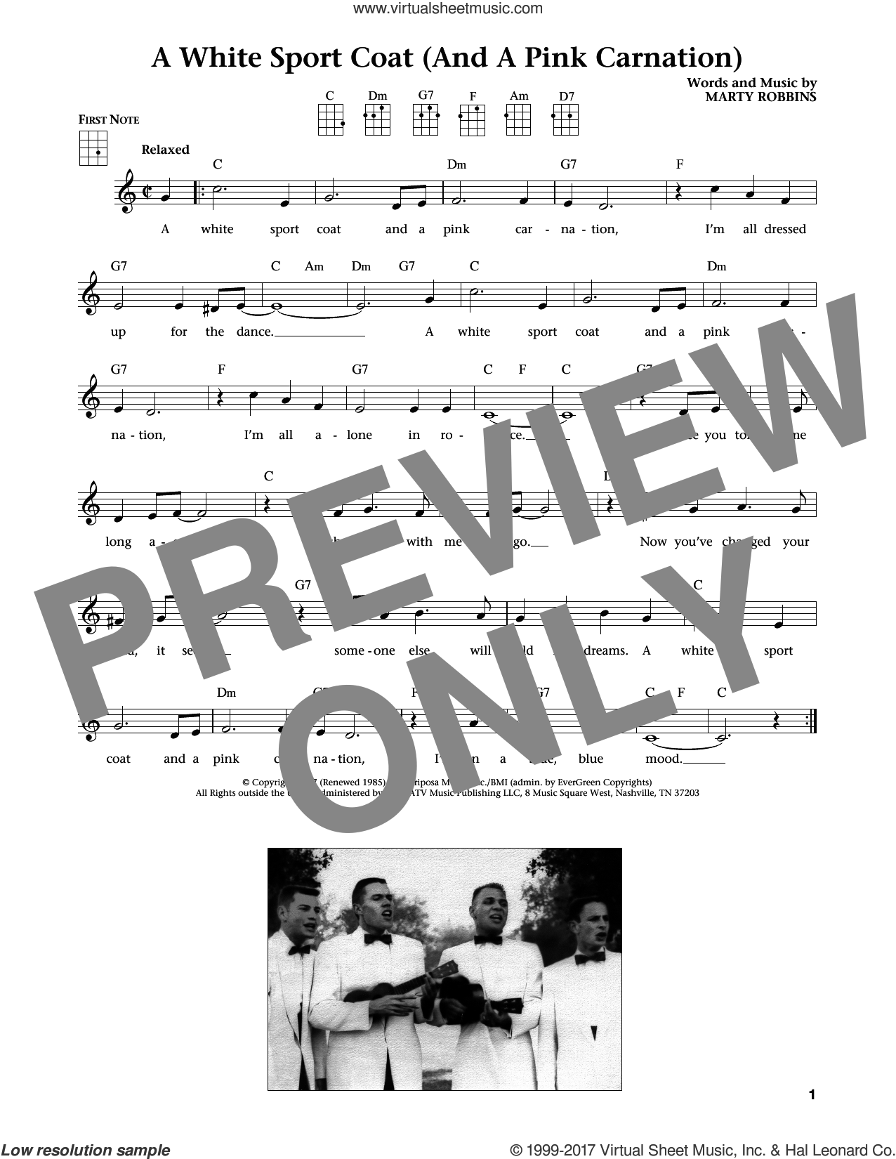 A White Sport Coat (And A Pink Carnation) sheet music for ukulele by Marty Robbins, Jim Beloff and Liz Beloff, intermediate