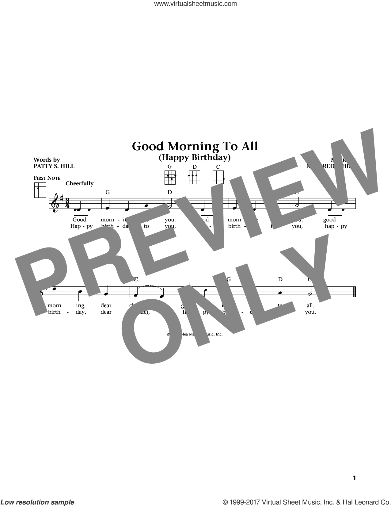 Good Morning To All sheet music for ukulele by Mildred J. Hill, Jim Beloff, Liz Beloff and Patty Smith Hill, intermediate