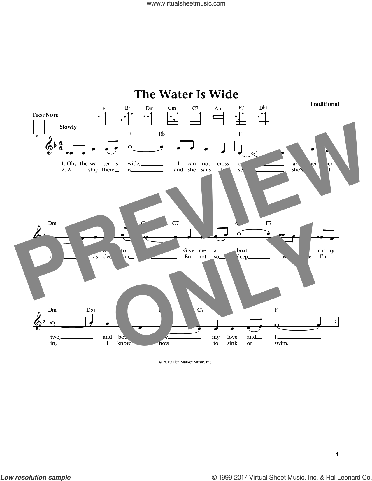Water Is Wide sheet music for ukulele, intermediate. Score Image Preview.
