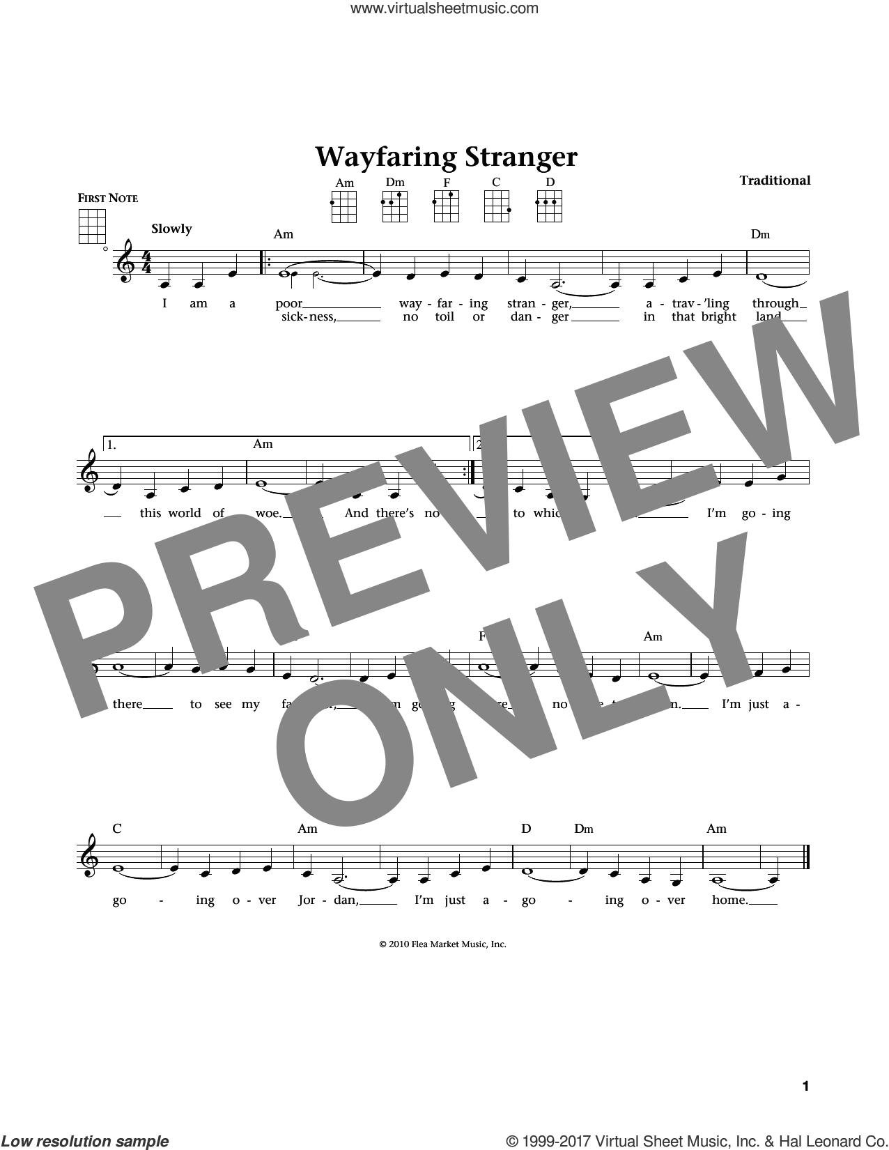 Wayfaring Stranger (from The Daily Ukulele) (arr. Liz and Jim Beloff) sheet music for ukulele , Jim Beloff and Liz Beloff, intermediate skill level