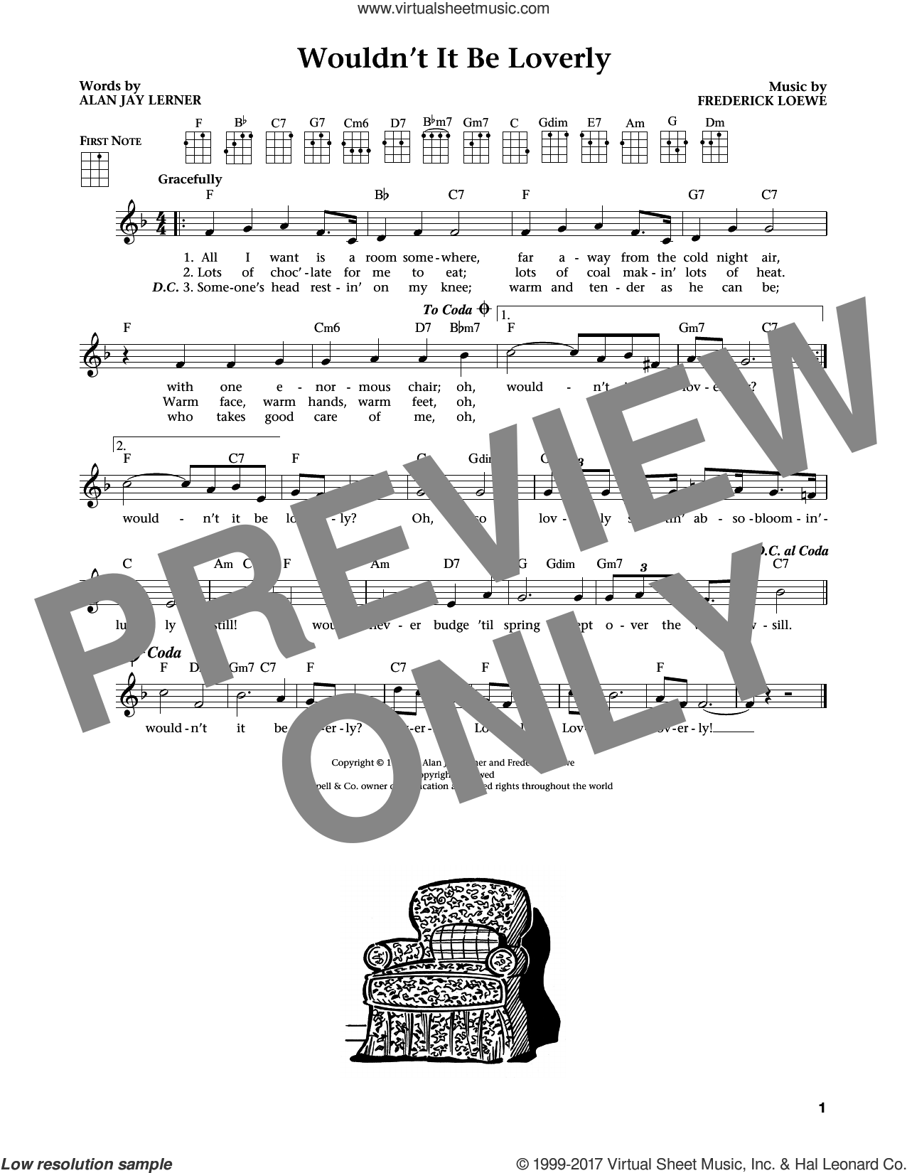 Wouldn't It Be Loverly (from The Daily Ukulele) (arr. Liz and Jim Beloff) sheet music for ukulele by Alan Jay Lerner, Jim Beloff, Liz Beloff and Frederick Loewe, intermediate skill level