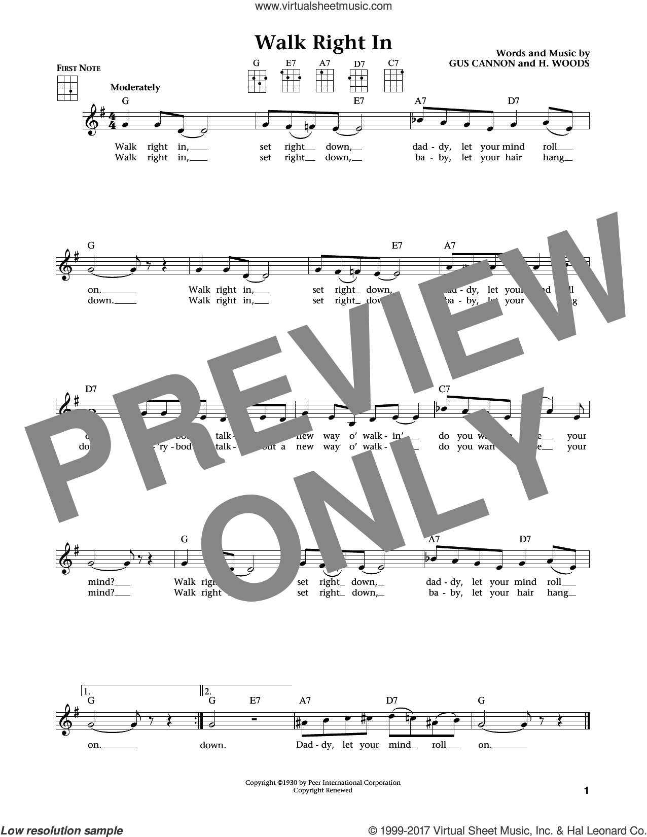 Walk Right In (from The Daily Ukulele) (arr. Liz and Jim Beloff) sheet music for ukulele by The Rooftop Singers, Jim Beloff, Liz Beloff, Gus Cannon and Harry Woods, intermediate skill level