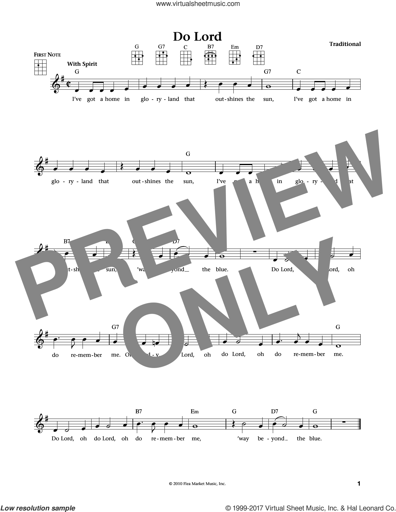 Do Lord (from The Daily Ukulele) (arr. Liz and Jim Beloff) sheet music for ukulele , Jim Beloff and Liz Beloff, intermediate skill level