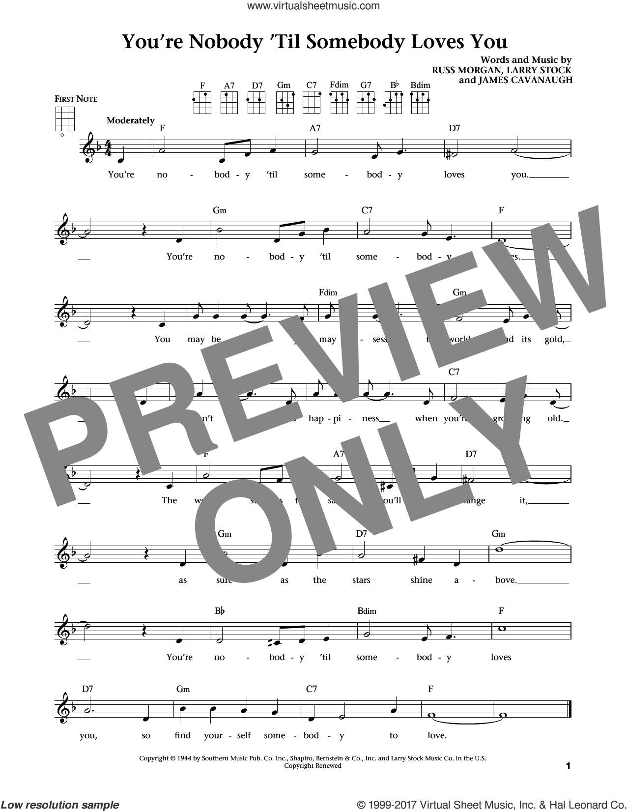 You're Nobody 'til Somebody Loves You sheet music for ukulele by James Cavanaugh, Dean Martin, Frank Sinatra, Larry Stock and Russ Morgan, intermediate ukulele. Score Image Preview.