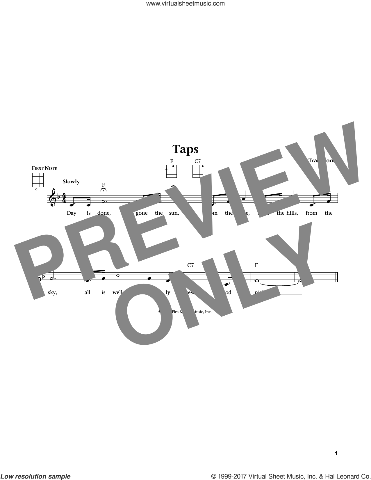 Taps (from The Daily Ukulele) (arr. Liz and Jim Beloff) sheet music for ukulele , Jim Beloff and Liz Beloff, intermediate skill level