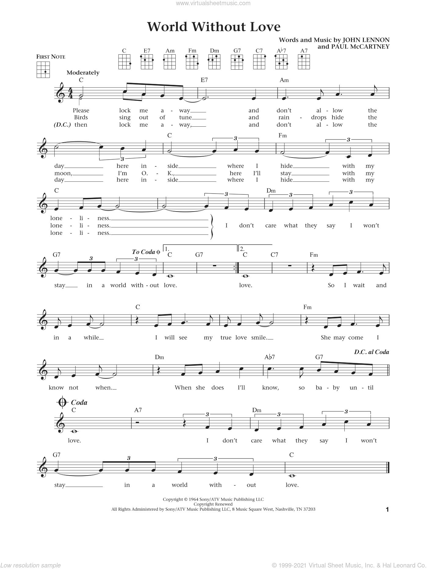 World Without Love (from The Daily Ukulele) (arr. Liz and Jim Beloff) sheet music for ukulele by Paul McCartney, Jim Beloff, Liz Beloff, Peter and Gordon and John Lennon, intermediate skill level