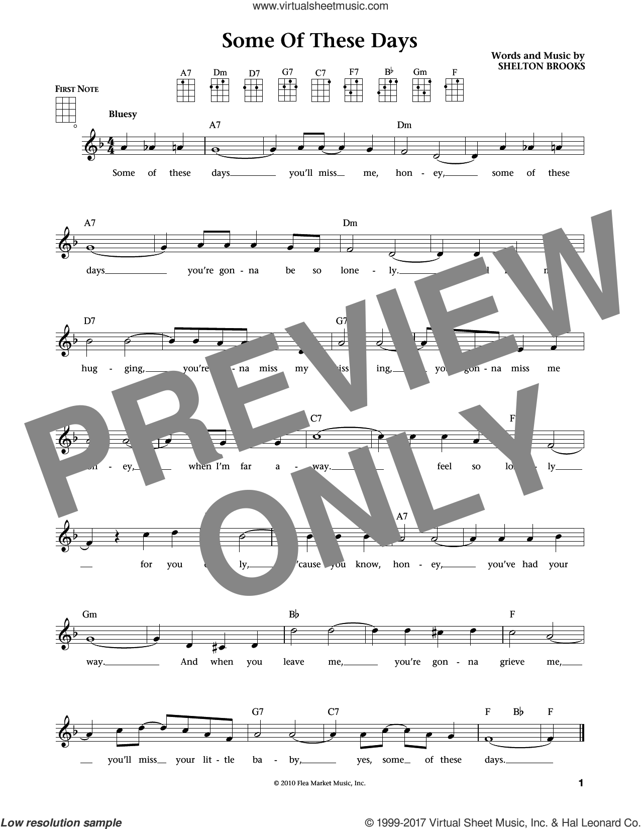 Some Of These Days sheet music for ukulele by Shelton Brooks, Jim Beloff, Liz Beloff and Sophie Tucker, intermediate skill level