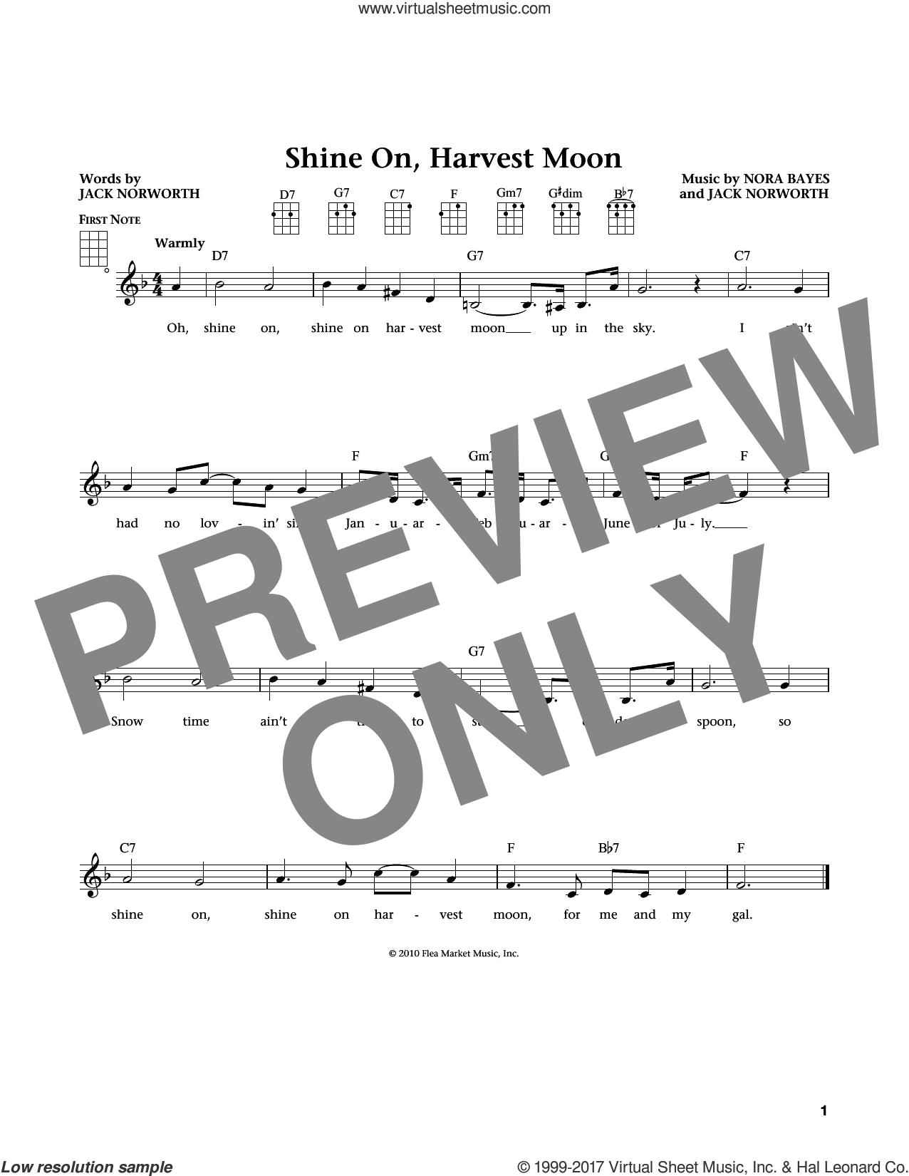 Shine On, Harvest Moon sheet music for ukulele by Jack Norworth, Jim Beloff, Liz Beloff and Nora Bayes, intermediate. Score Image Preview.