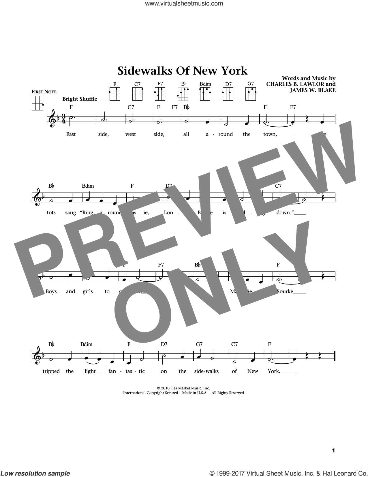 Sidewalks Of New York (from The Daily Ukulele) (arr. Liz and Jim Beloff) sheet music for ukulele by Eubie Blake, Jim Beloff, Liz Beloff and Charles B. Lawlor, intermediate skill level