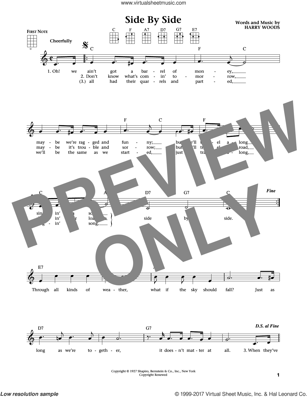 Side By Side sheet music for ukulele by Harry Woods, Jim Beloff, Liz Beloff and Patsy Cline, intermediate. Score Image Preview.