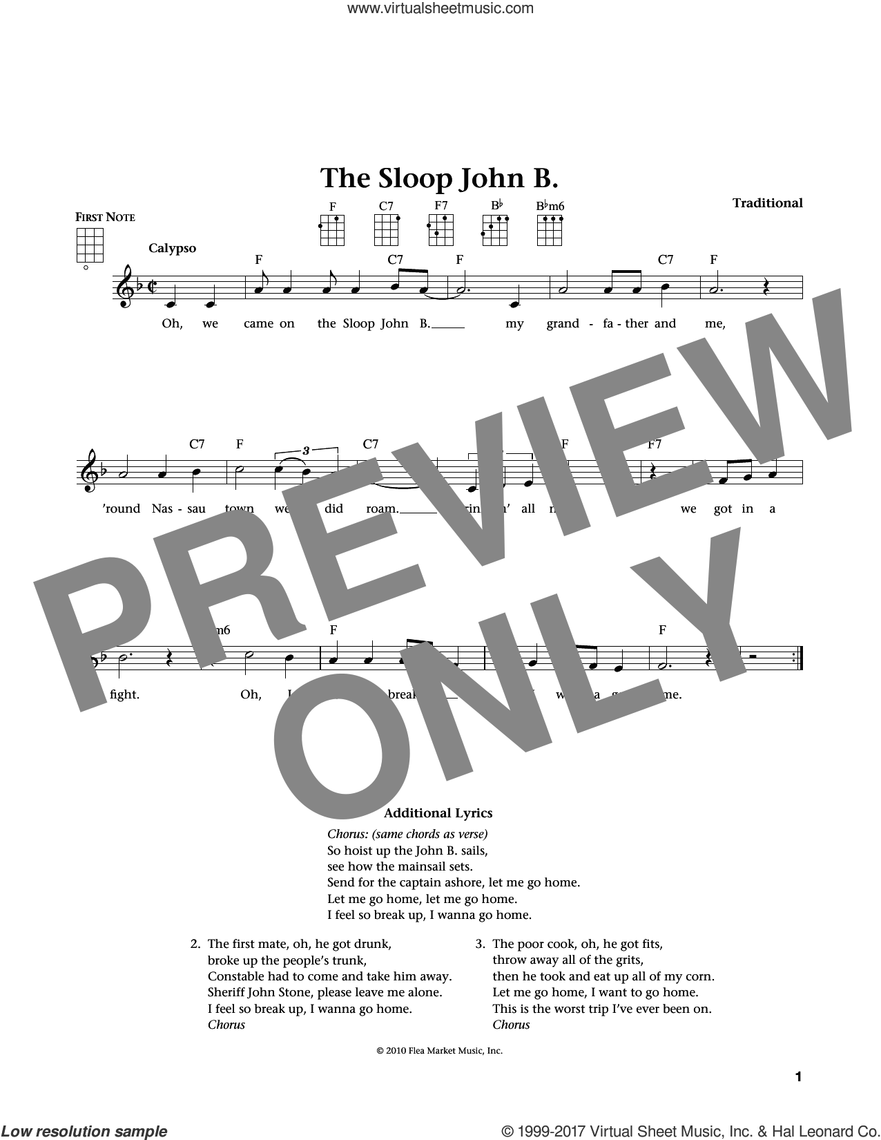 Sloop John B. sheet music for ukulele , Jim Beloff and Liz Beloff, intermediate