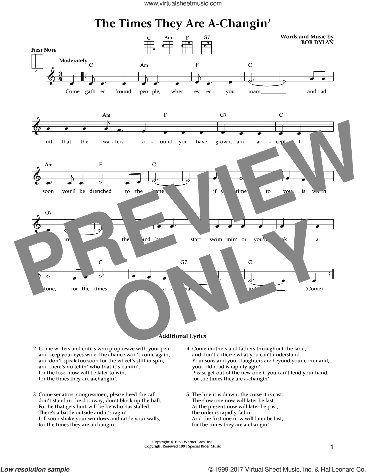 The Times They Are A-Changin' sheet music for ukulele by Bob Dylan, Jim Beloff, Liz Beloff and Peter, Paul & Mary, intermediate skill level