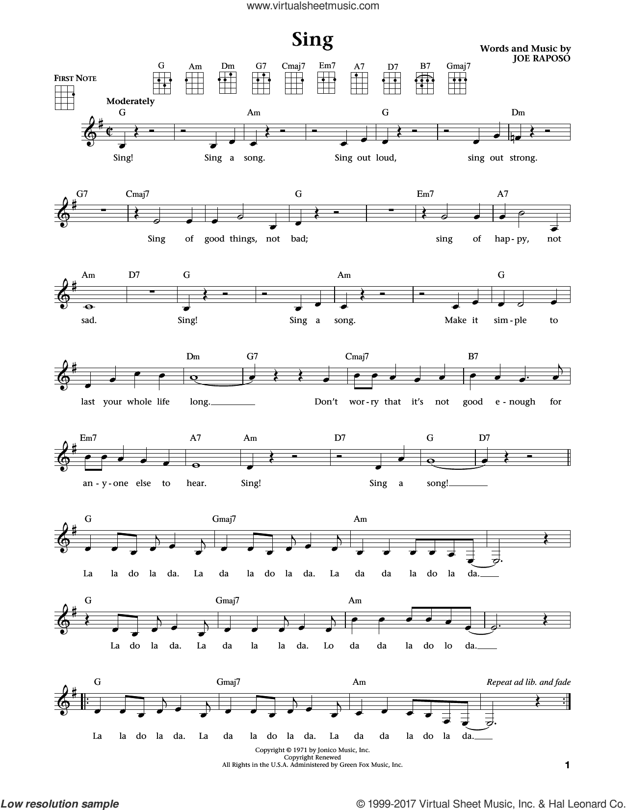 Sing sheet music for ukulele by Joe Raposo and Carpenters, intermediate. Score Image Preview.