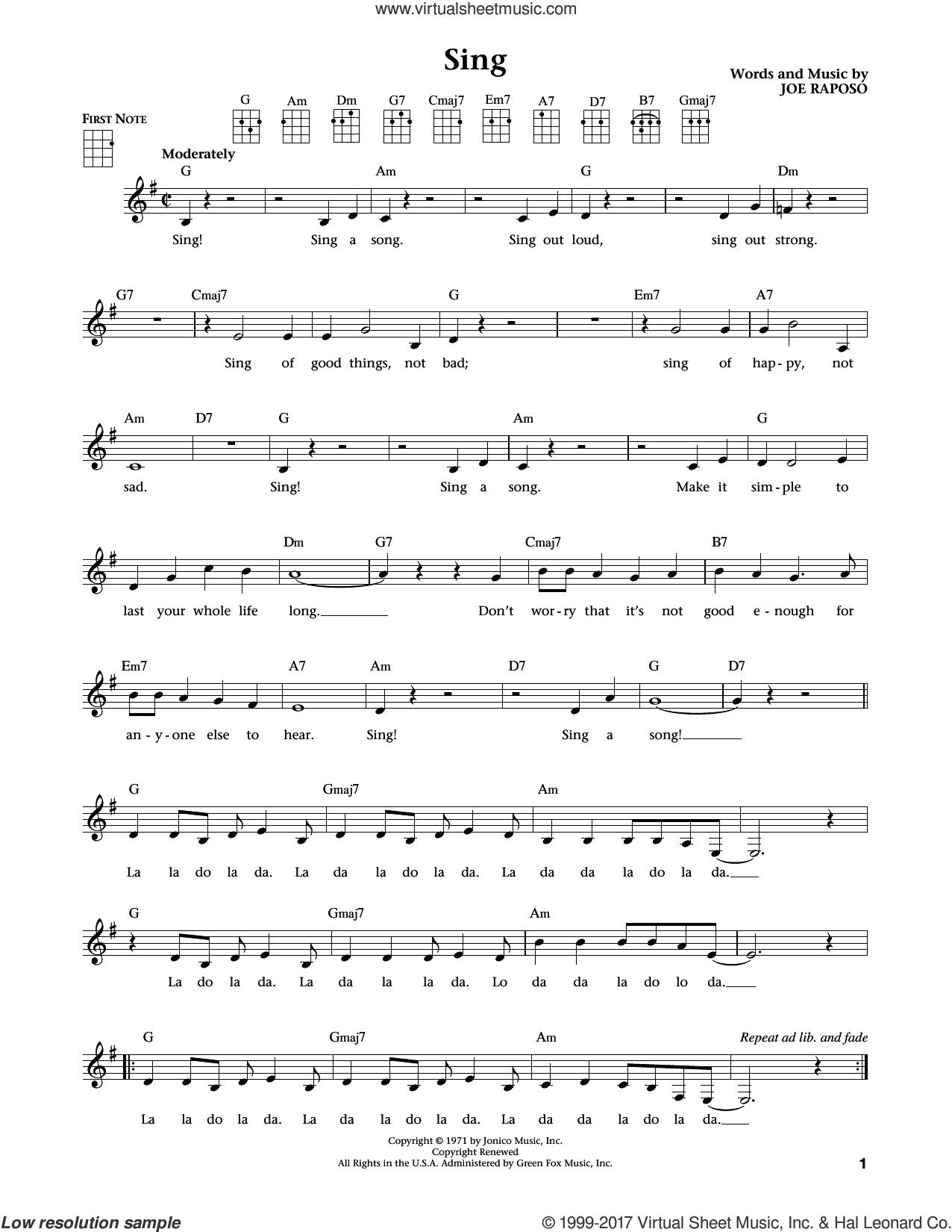 Sing (from The Daily Ukulele) (arr. Liz and Jim Beloff) sheet music for ukulele by Joe Raposo, Carpenters, Jim Beloff and Liz Beloff, intermediate skill level