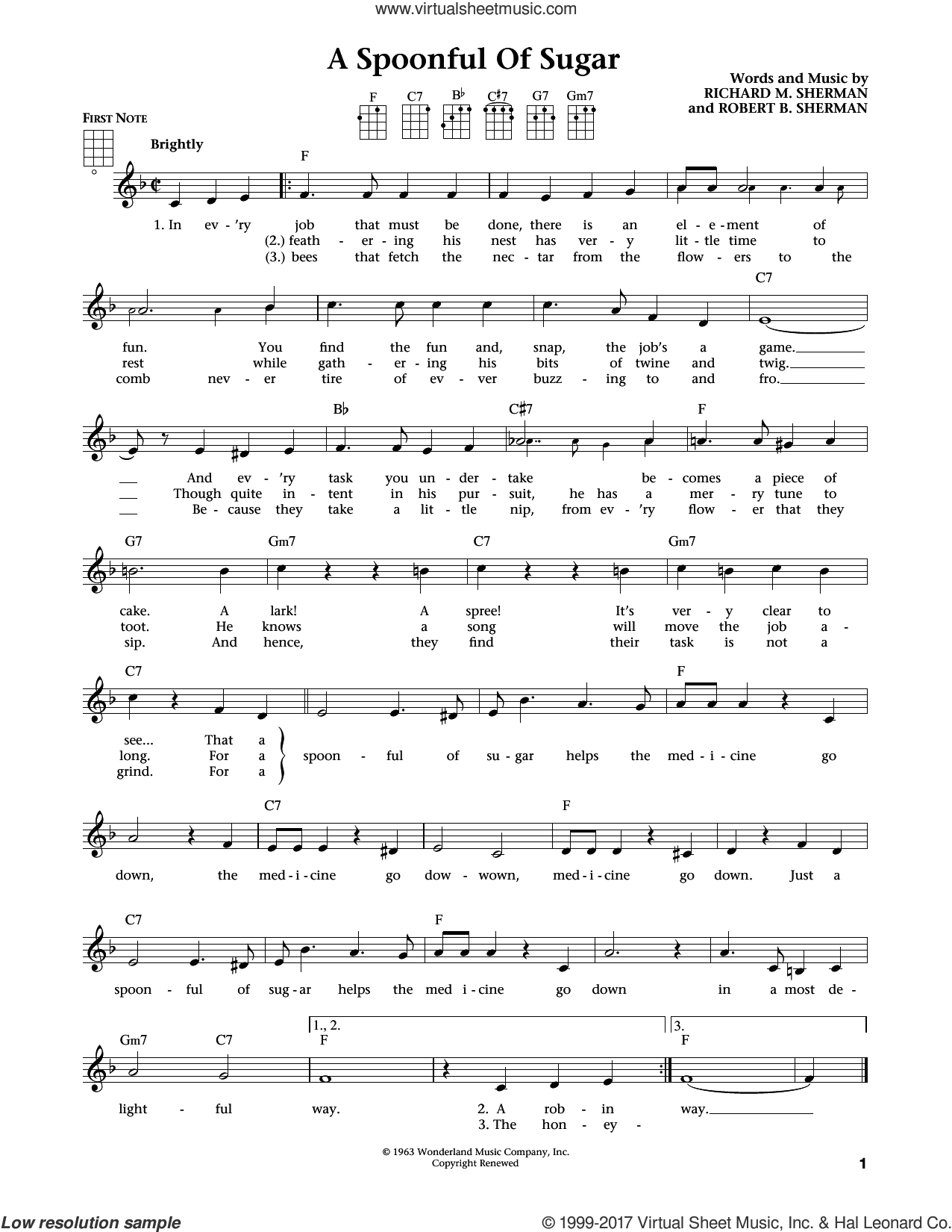 A Spoonful Of Sugar sheet music for ukulele by Richard M. Sherman, Jim Beloff, Liz Beloff and Robert B. Sherman, intermediate skill level