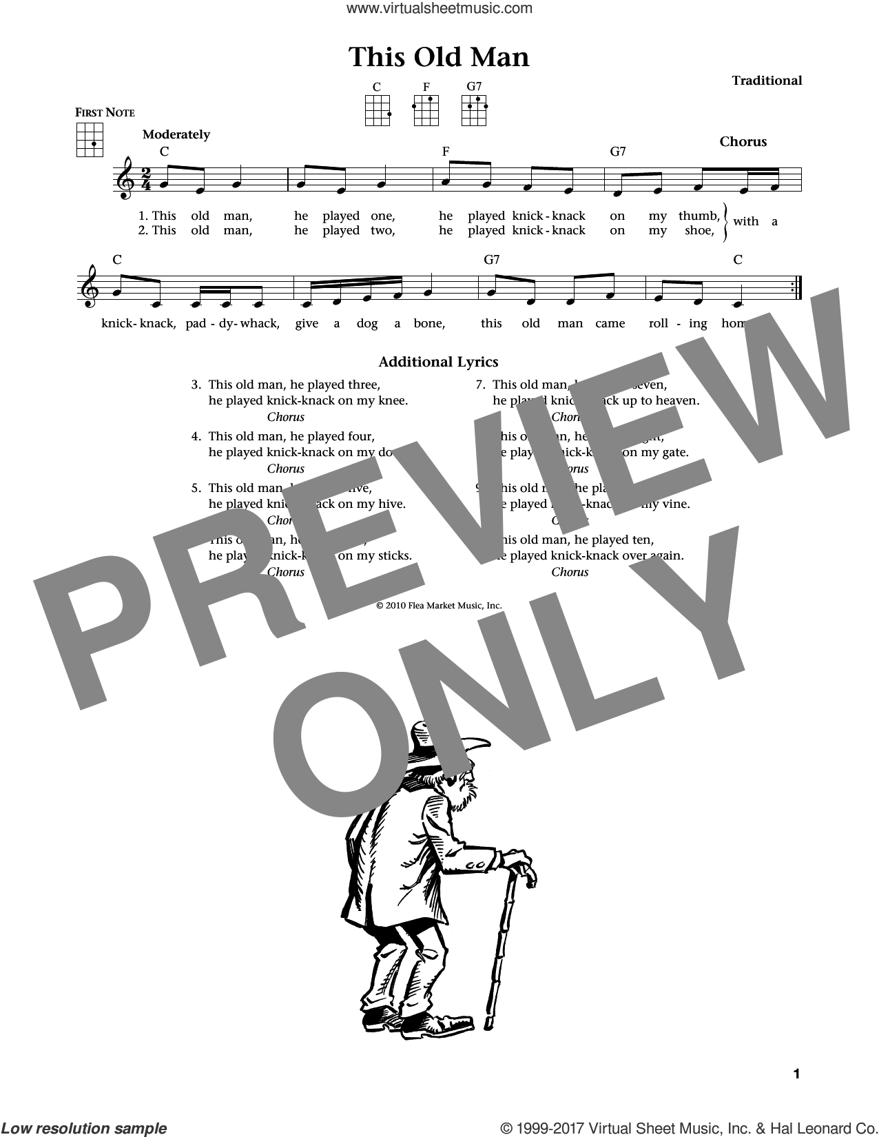 This Old Man sheet music for ukulele , Jim Beloff and Liz Beloff, intermediate skill level