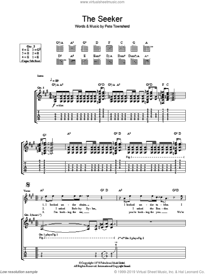 The Seeker sheet music for guitar (tablature) by Pete Townshend and The Who. Score Image Preview.