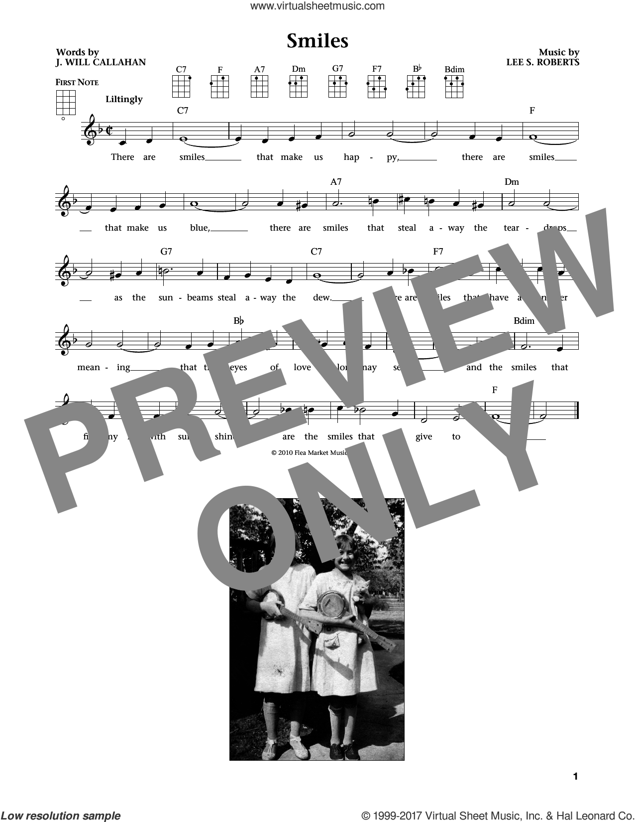 Smiles sheet music for ukulele by J. Will Callahan, intermediate ukulele. Score Image Preview.