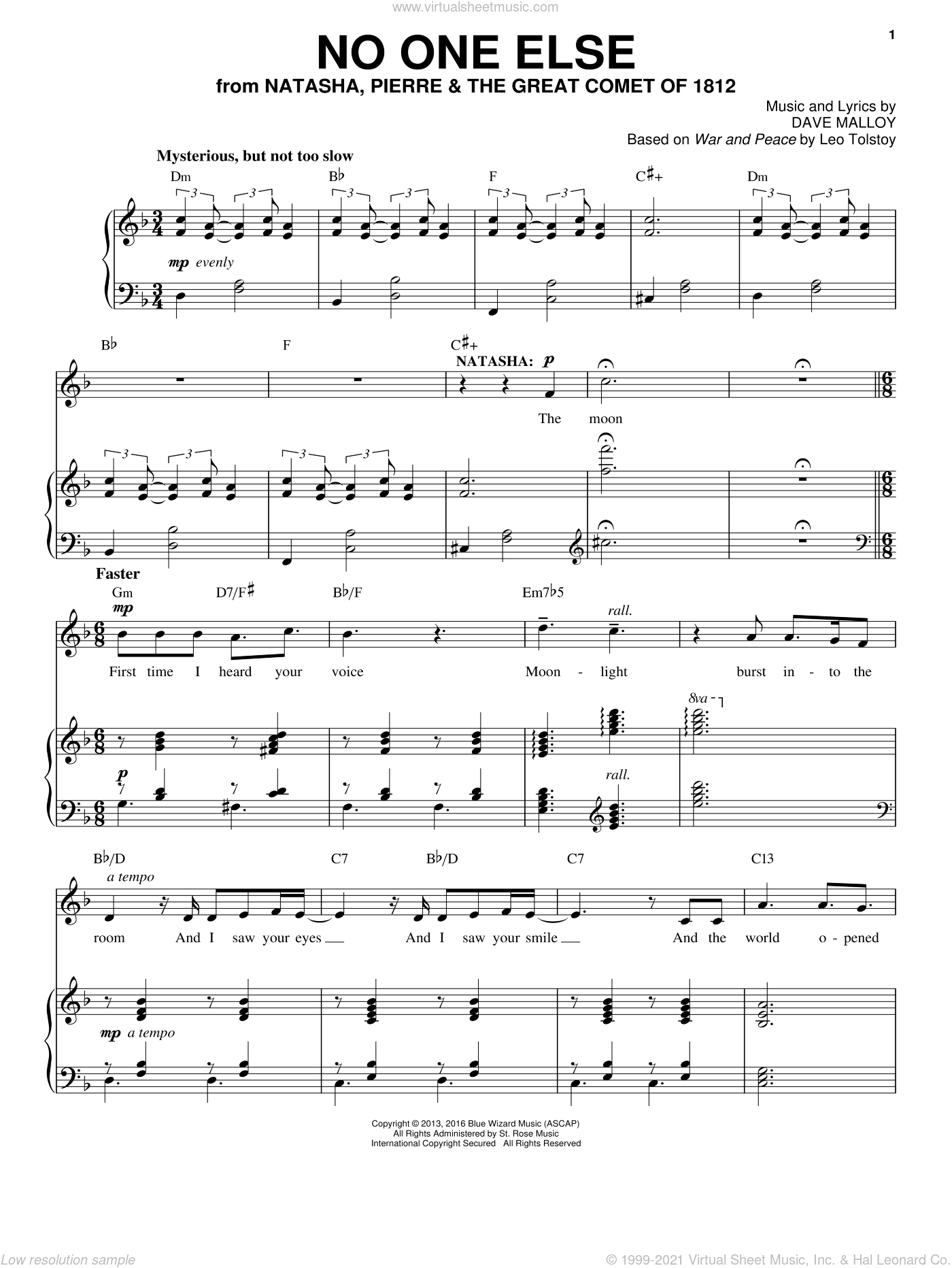 No One Else sheet music for voice and piano by Denée Benton, Josh Groban and Dave Malloy, intermediate skill level