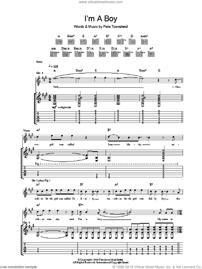 I'm A Boy sheet music for guitar (tablature) by Pete Townshend and The Who. Score Image Preview.