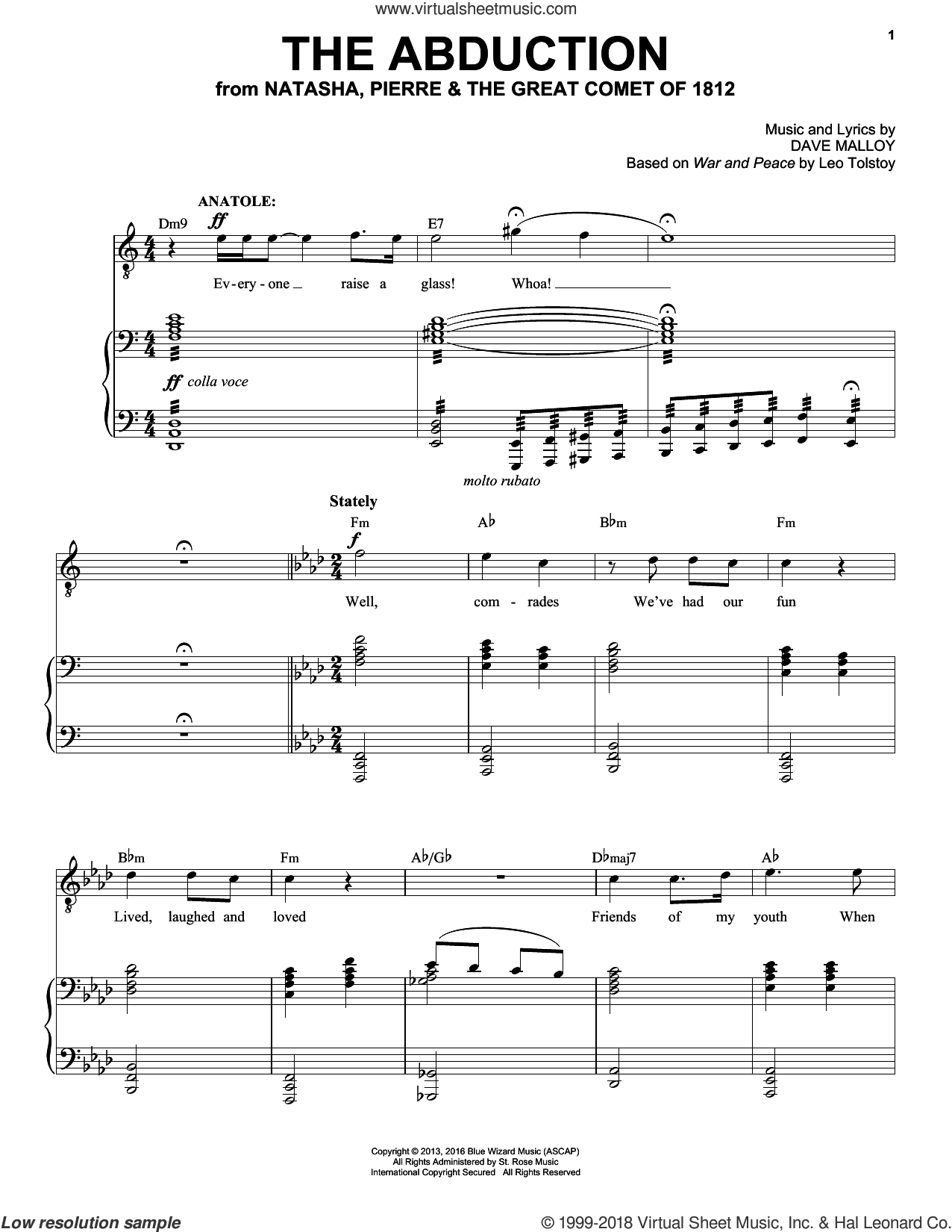 The Abduction sheet music for voice and piano by Josh Groban. Score Image Preview.