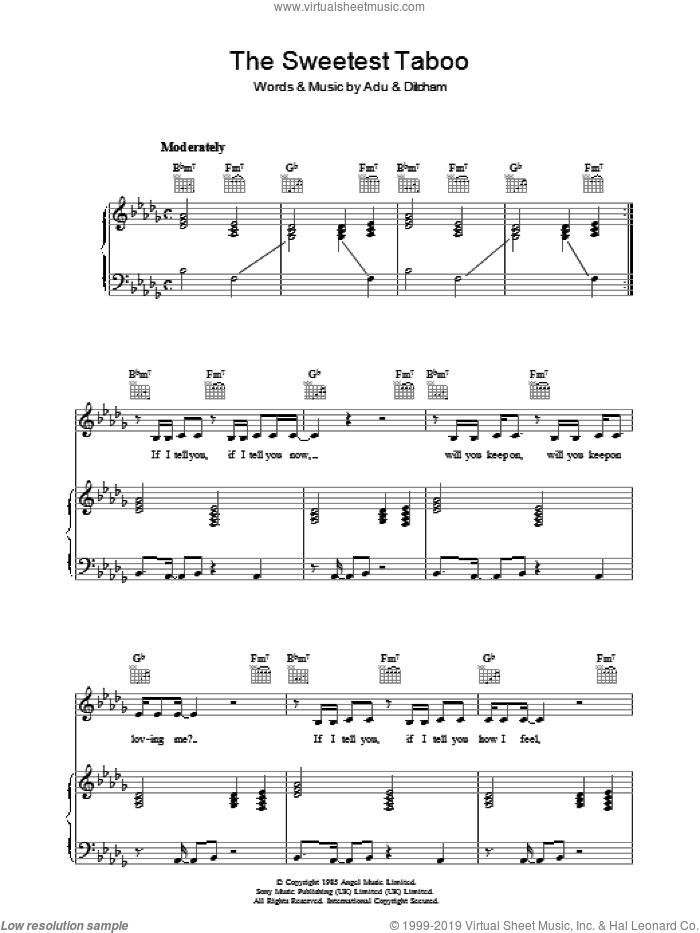 Sade - The Sweetest Taboo sheet music for voice, piano or guitar