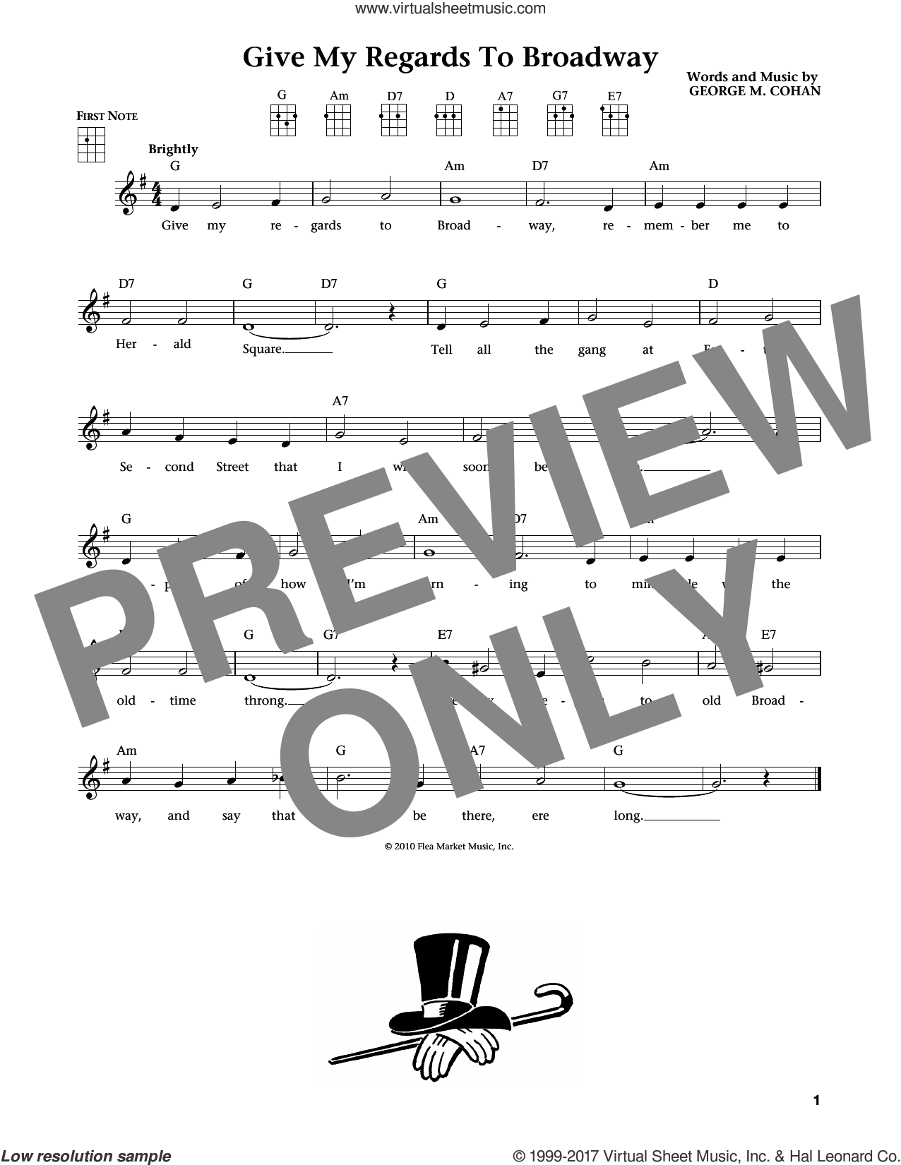 Give My Regards To Broadway (from The Daily Ukulele) (arr. Liz and Jim Beloff) sheet music for ukulele by George M. Cohan, Jim Beloff, Liz Beloff and George Cohan, intermediate skill level