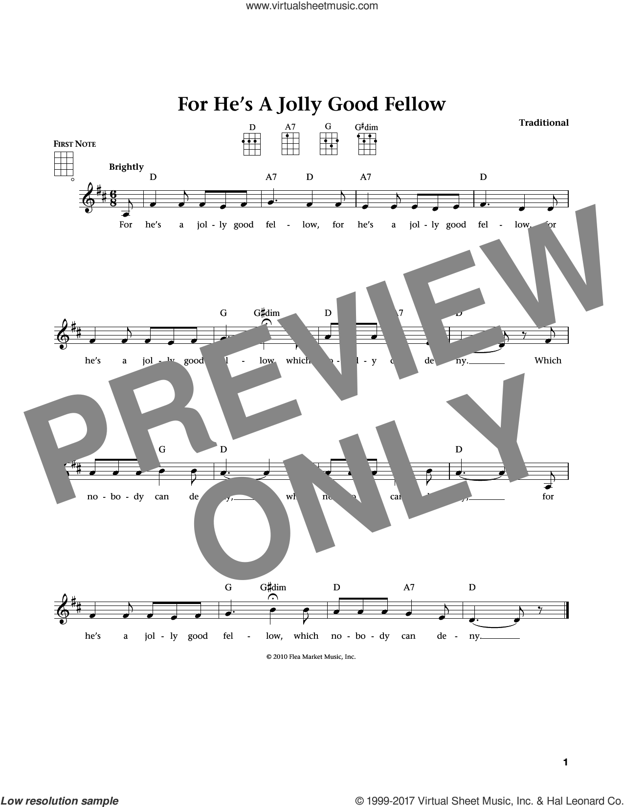 For He's A Jolly Good Fellow sheet music for ukulele , Jim Beloff and Liz Beloff, intermediate skill level