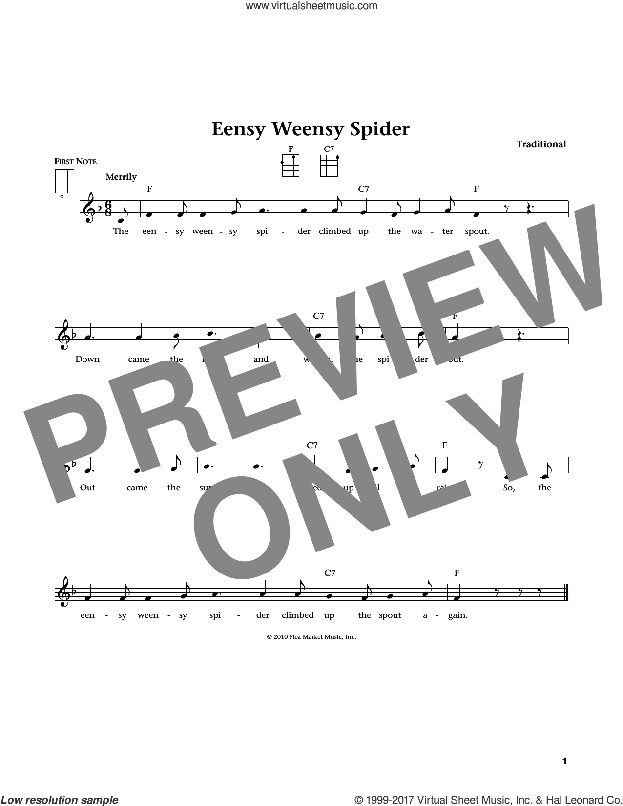 Eensy Weensy Spider (from The Daily Ukulele) (arr. Liz and Jim Beloff) sheet music for ukulele , Jim Beloff and Liz Beloff, intermediate skill level