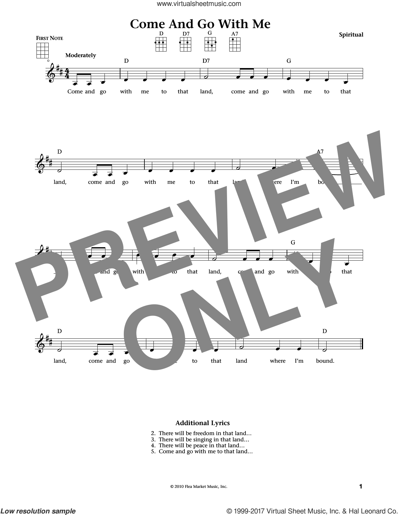 Come And Go With Me sheet music for ukulele , Jim Beloff and Liz Beloff, intermediate skill level