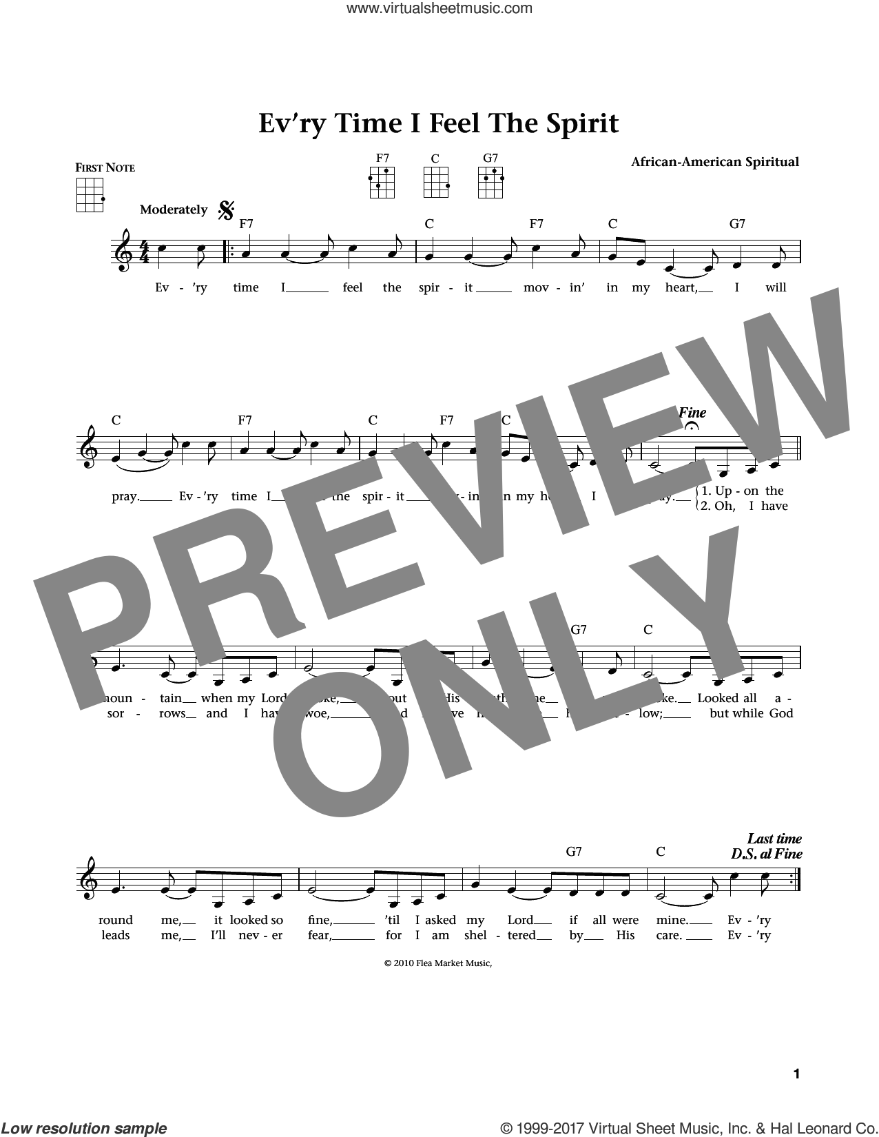 Every Time I Feel The Spirit sheet music for ukulele. Score Image Preview.