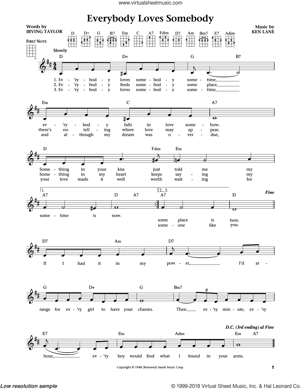 Everybody Loves Somebody (from The Daily Ukulele) (arr. Liz and Jim Beloff) sheet music for ukulele by Dean Martin, intermediate skill level