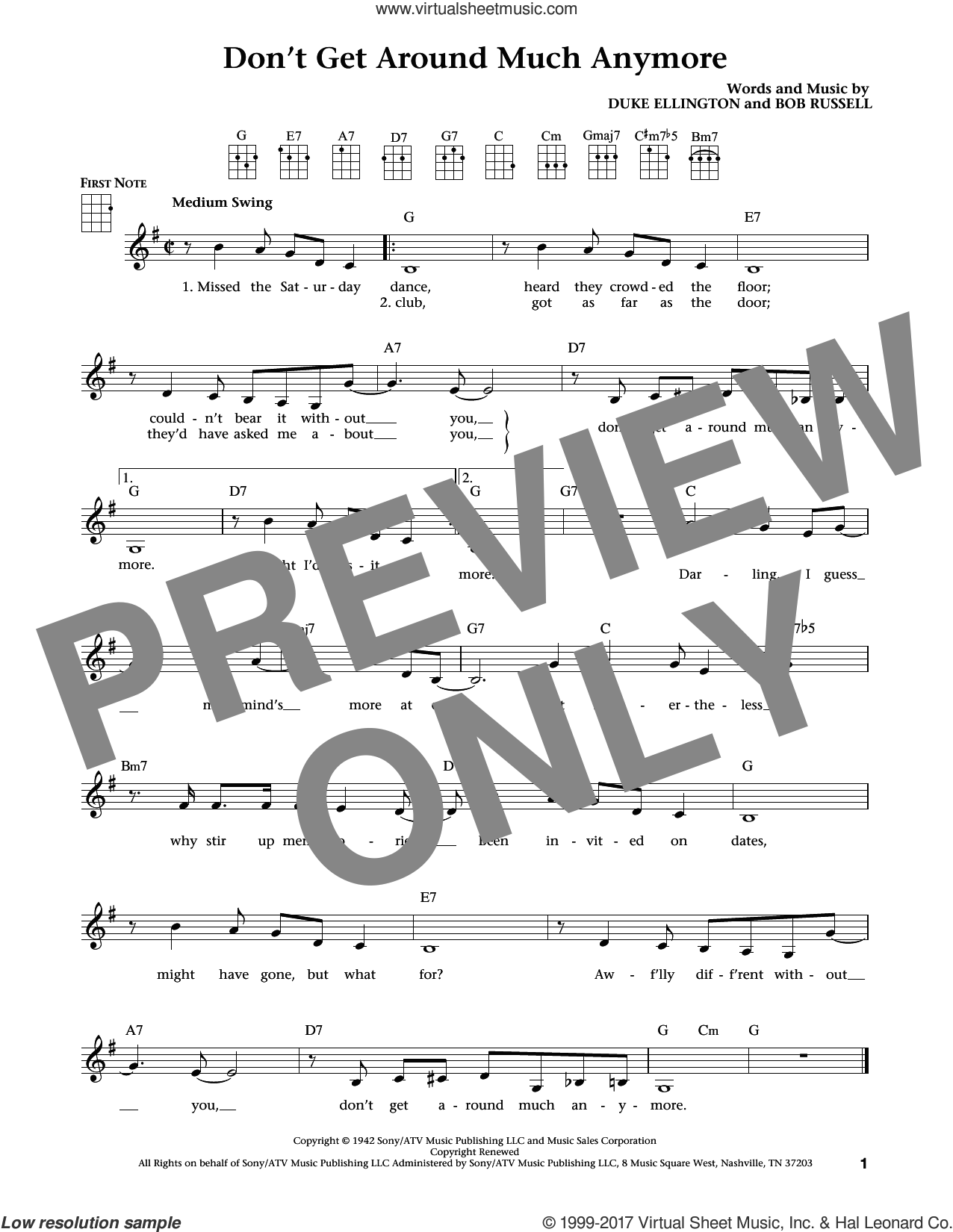 Don't Get Around Much Anymore (from The Daily Ukulele) (arr. Liz and Jim Beloff) sheet music for ukulele by Duke Ellington, Jim Beloff, Liz Beloff and Bob Russell, intermediate skill level