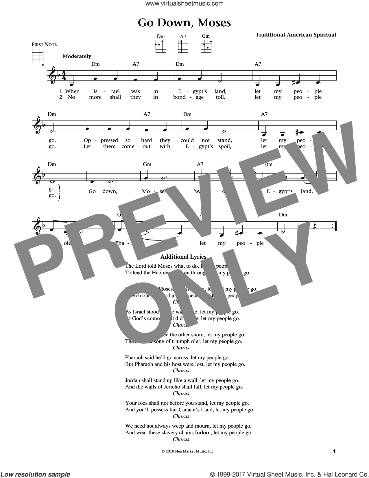 Go Down, Moses (from The Daily Ukulele) (arr. Liz and Jim Beloff) sheet music for ukulele by Traditional American Spiritual, Jim Beloff and Liz Beloff, intermediate skill level