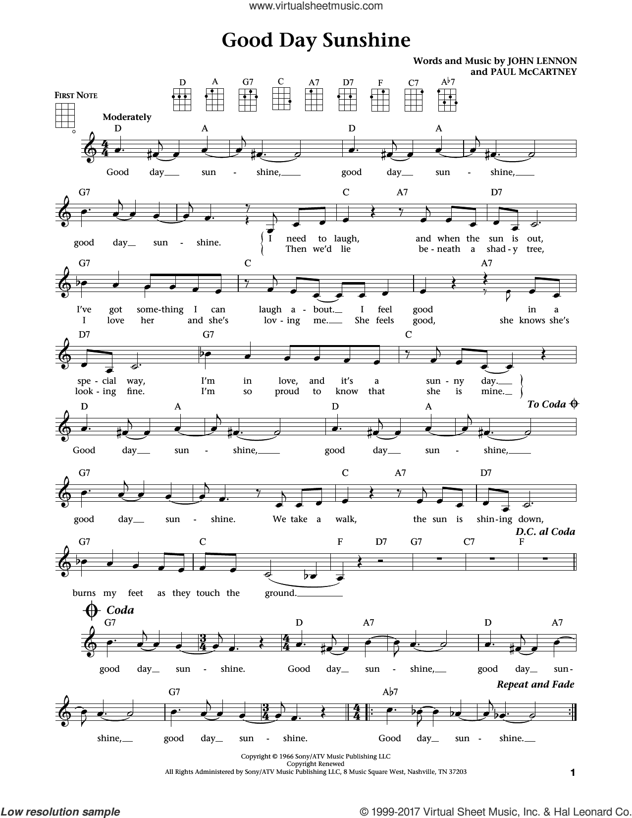 Good Day Sunshine sheet music for ukulele by The Beatles, Jim Beloff, Liz Beloff, John Lennon and Paul McCartney, intermediate skill level